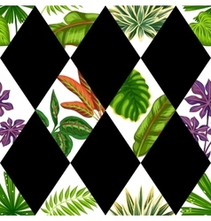 Seamless pattern with tropical plants and leaves vector image