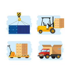 set delivery service with forklift and truck vector image