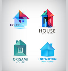 Set of origami and faceted house logos vector