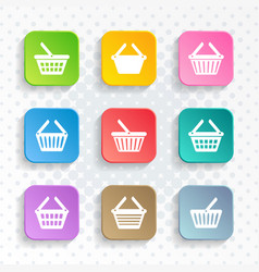 simple shopping basket icons rounded square design vector image