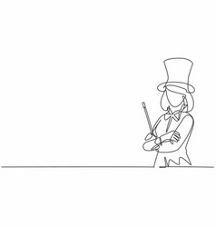 Single one line drawing young female magician vector
