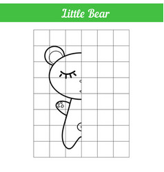 Sleeping little bear copy picture along the vector