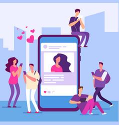 social media concept people follow smartphone vector image