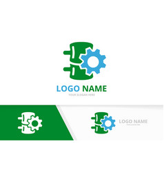 Spine and gear logo combination industrial vector