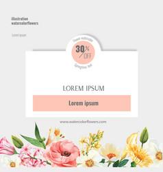 Spring social media frame fresh flowers decor vector