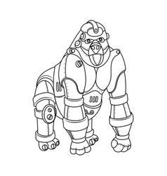 Steam punk style gorilla coloring book vector