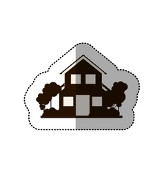 Sticker silhouette house of two floors with trees vector