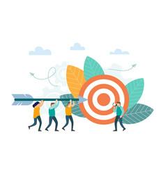 successful businessman aiming arrow towards target vector image