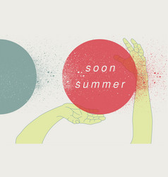 Summer retro grunge poster with hands movement vector