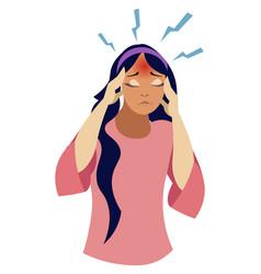 The girl has a headache a disease in minimalist vector
