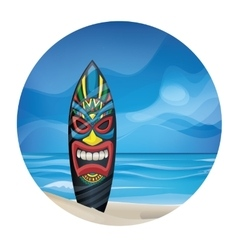 Tiki warrior mask design surfboard on ocean beach vector image