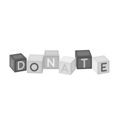 Toys donation icon in monochrome style isolated on vector image