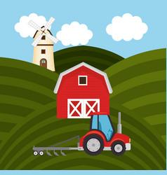 tractor in the farm scene vector image