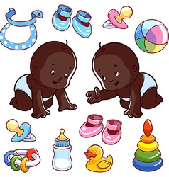 Two African American toddler in diapers with baby vector image