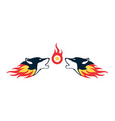 two fire wolf logo concept icon vector image