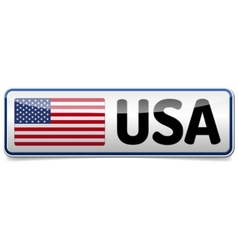 USA flag button banner vector image