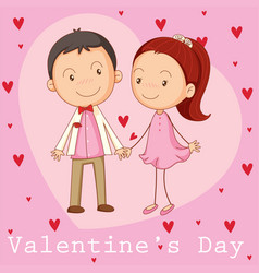 Valentine card template with boyfriend and vector