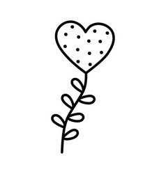 valentines day heart love with branch leaves vector image