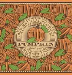 Vintage pumpkin label on seamless pattern vector