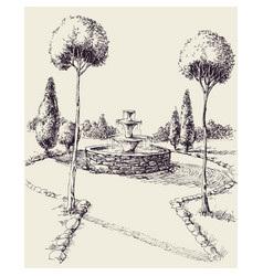 Water fountain in a park hand drawing park alley vector
