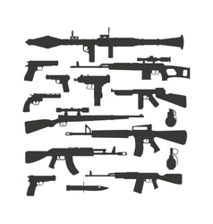 Weapon collection different military automatic gun vector image