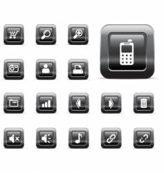 web icons black chrome vector image