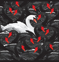white swan in black family vector image