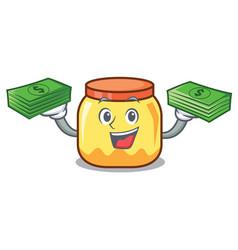 With money bag cream jar mascot cartoon vector