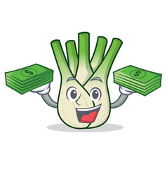 With money fennel mascot cartoon style vector