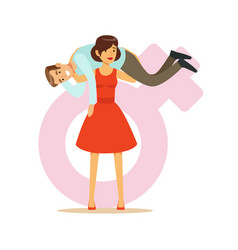 woman in a red dress holding man on her shoulders vector image