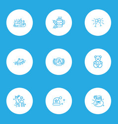 year icons line style set with reindeer teddy vector image