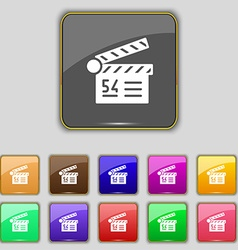 Cinema movie icon sign Set with eleven colored vector image