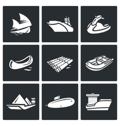 Water transport icons set vector image