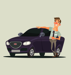 Happy smiling car dealer seller man character vector