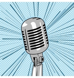 Retro style microphone pop art vector image vector image