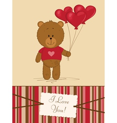 Teddy Bear with heart balloons vector image
