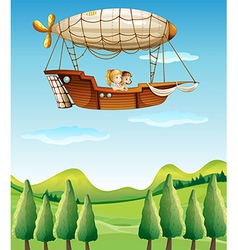 Two girls riding in an airship vector image vector image