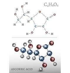 Ascorbic Acid Molecule vector image