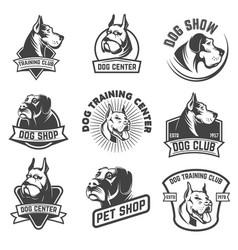 dog shop dog training center emblem templates vector image vector image