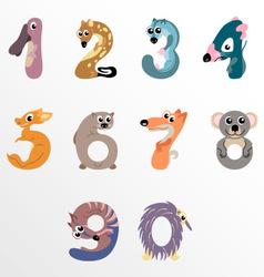 Numbers like Australian animals vector image vector image