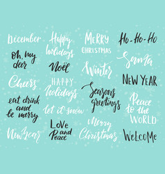 set of merry christmas text hand drawn lettering vector image vector image