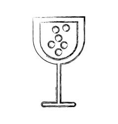 Sketch draw glass wine vector