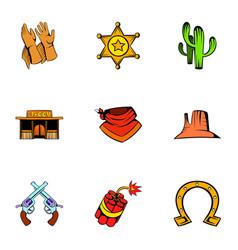 texas icons set cartoon style vector image