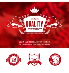 Vintage premium labels set on tile structured vector image