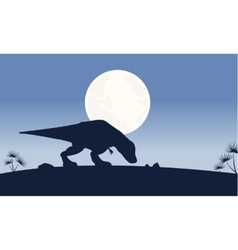 At night Tyrannosaurus scenery of silhouettes vector image vector image