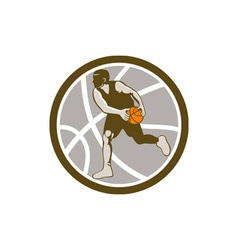 Basketball Player Dribbling Ball Circle Retro vector image