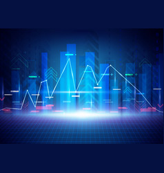blue abstract technology and stock market concept vector image vector image