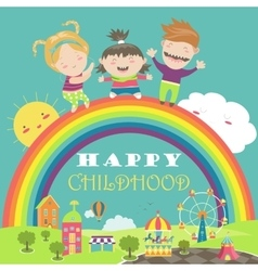 Happy children with rainbow and carousel vector image