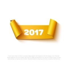 Happy New Year 2017 paper roll banner with vector image