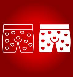 men underwear with hearts line and glyph icon vector image vector image